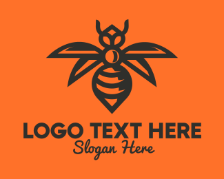 Yellow Insect - Black Wasp logo design