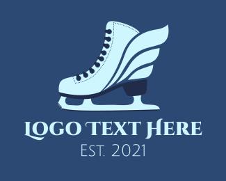 Skate - Ice Skating Winged Shoes logo design