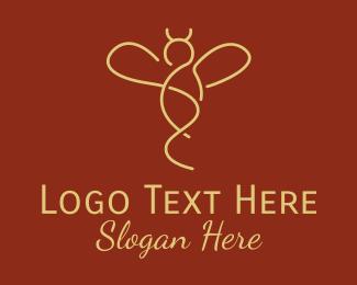 Bee Farm - Minimalist Yellow Bee  logo design
