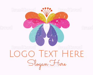 Orange And Purple - Colorful Butterfly logo design