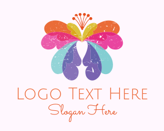 Florist - Colorful Butterfly logo design
