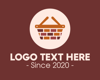 Shopping Basket - Brick Wall Shopping Basket logo design