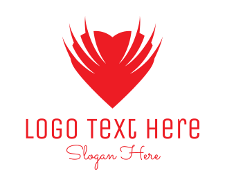 Wings - Heart Wings logo design
