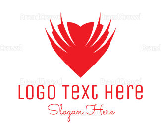 Cupid - Heart Wings logo design