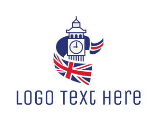 Britain - Big Ben Flag logo design