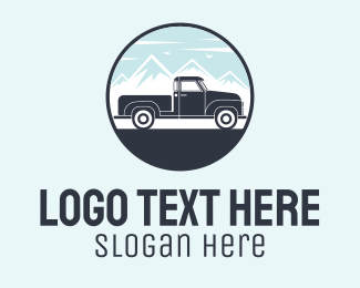 Pickup - Pickup Truck Scene Badge logo design