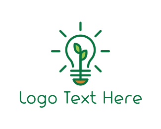 Eco Energy - Green Bulb logo design