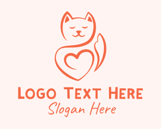 Blue Kitten - Minimalist Cat Lover logo design