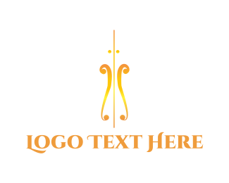 Orchestra - Golden Violin logo design