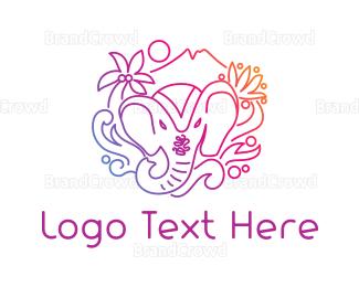 Elephant - Indian Elephant Outline logo design