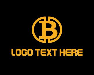 Blockchain - Gold Bitcoin B logo design