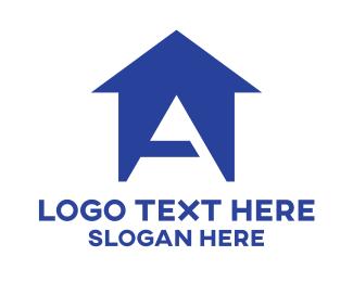 Homestead - Blue A House logo design