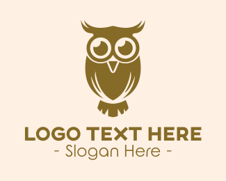 Seek - Brown Owl Bird logo design