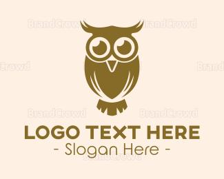 Watching - Golden Brown Owl Bird logo design
