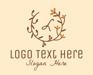 Wedding - Vintage Autumn Flower Branch logo design