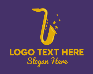 Live Band - Jazz Saxophone Music logo design