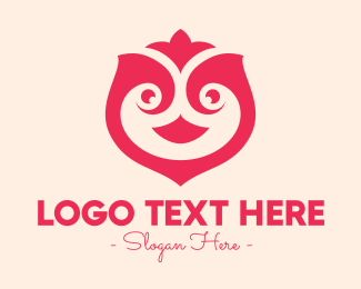 Flying Bird - Pink Abstract Bird logo design