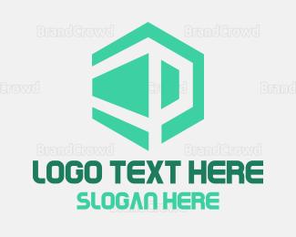 3d - Abstract Cube P logo design