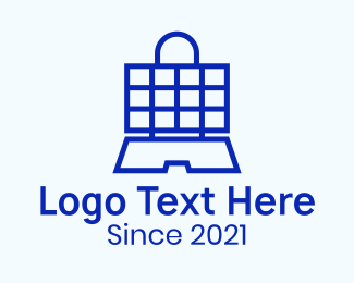 Shopify - Shopping Bag Laptop logo design