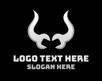 Tool Library - Wrench Horns logo design
