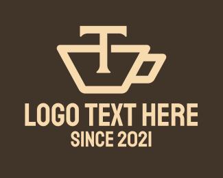 T - Teacup Letter T logo design