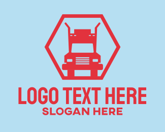 Trucking Company - Red Truck Hexagon logo design