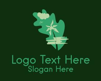 Coconut Tree - Green Palm Tree Environmental logo design