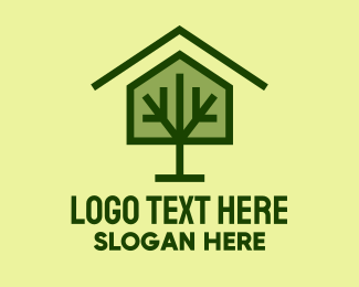 Greenhouse - Green Tree House logo design