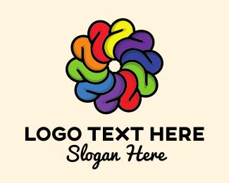 Colourful - Rainbow Flower logo design