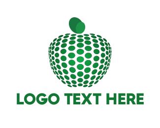 Healthy - Dots & Green Apple logo design