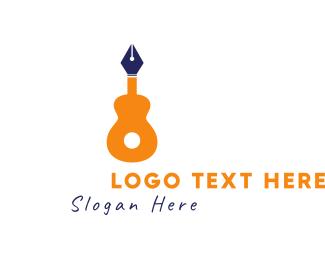 Pen - Guitar Pen logo design