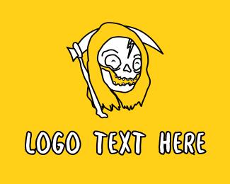 Funny - Cute Friendly Reaper logo design