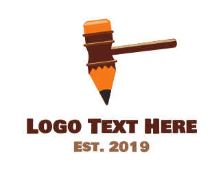Gavel - Pen Hammer Gavel logo design