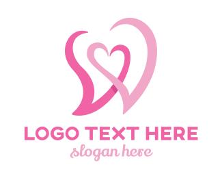 Sky Blue - Pink Heart W  logo design