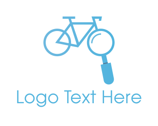 Blue Bike - Bicycle Bike Search Finder logo design
