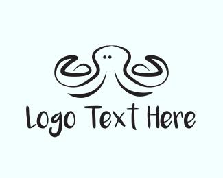 Calamari - Black Octopus logo design