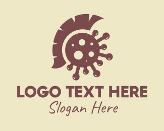 Spartan - Brown Spartan Virus logo design