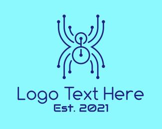 Spider - Blue Circuit Spider  logo design