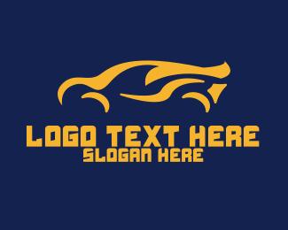 Car Racing - Orange Flame Car logo design