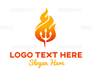 Blaze - Flaming Trident logo design