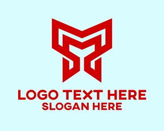 Brand - Red M Line Pattern logo design