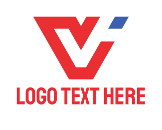 Letter - Red Letter V logo design