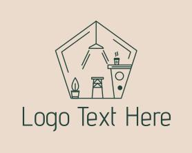 Interior - Cafe Interior Outline logo design