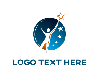 Space - Man & Stars logo design