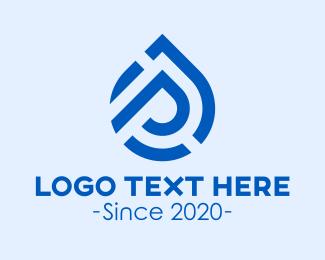 Water Refilling - Water Droplet Letter P logo design