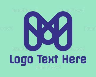 Chain - Blue Capsule M logo design