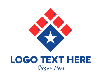 Voting Precinct - Patriotic Star Tile logo design
