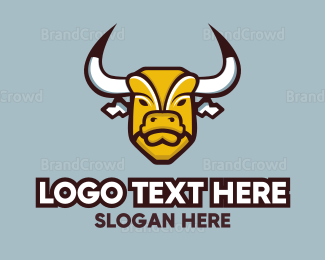 Buffalo - Yellow Mad Bull logo design