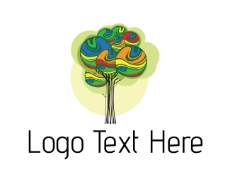 Online Learning - Paint Tree Art logo design