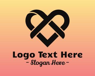 Wedding - Ribbon Heart logo design